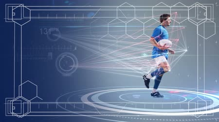 escopo : Animation of data processing, scope scanning and analytics with a male rugby player running holding a rugby ball in the background Vídeos