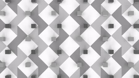 desenli : Animation of 3d grey metallic cubes moving in formation on a white square and grey patterned background