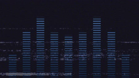 sensível : Animation of a screen with lines of interference, showing a moving blue nine band graphic eq meter display with music playing through it, on a black background