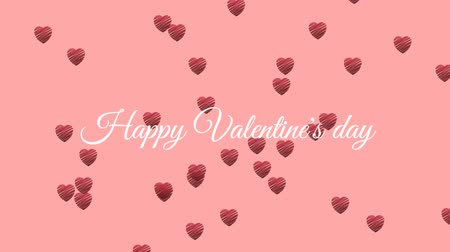 admiracion : Animation of the words Happy Valentines Day written in white text, with red heart shaped balloons floating up on a pale pink background