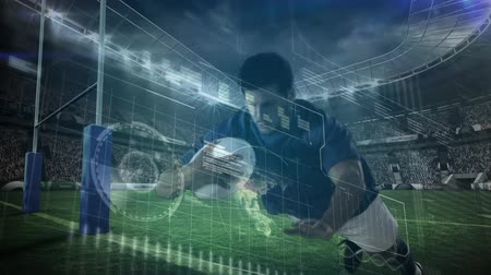 attentat : Animation of data processing, scope scanning and analytics with a Caucasian male rugby player running with teh ball and scoring a try during a match at a stadium in the background