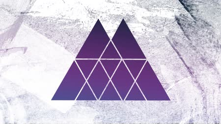 špičatý : Animation of a purple and blue background seen through a white double peaked triangular shaped window in the foreground Dostupné videozáznamy