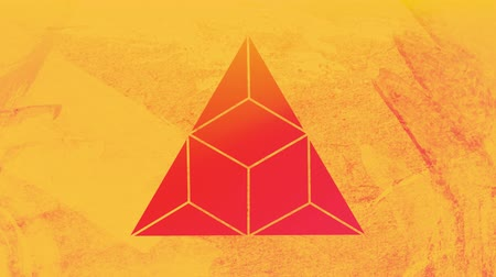 visto : Animation of an hot orange and pink background seen through a yellow triangular window in the foreground