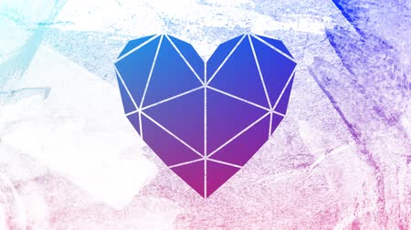 visto : Animation of a vibrant blue and purple background seen through a white heart shaped window in the foreground Stock Footage