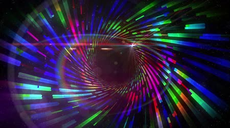 lézer : Animation of a screen with bands of blue interference, showing a lightshow of rotating multi-coloured shafts of prismatic light radiating from a circle of black background Stock mozgókép