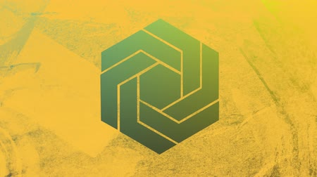 visto : Animation of a calming green and yellow background seen through a yellow hexagonal window in the foreground Stock Footage