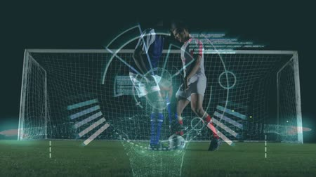possession : Animation of a circular scope scanning for analytics with two football players kicking a ball on a football pitch during a match in the background Stock Footage