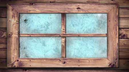 pane : Animation of frost setting on window glass panes from right to left, transitioning and disappearing in cold winter on black background Stock Footage
