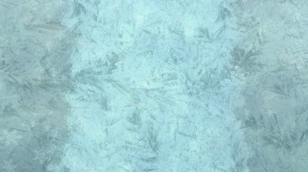 luty : Animation of frost setting on glass on left and right and transitioning in cold winter with snowflakes falling on grey background