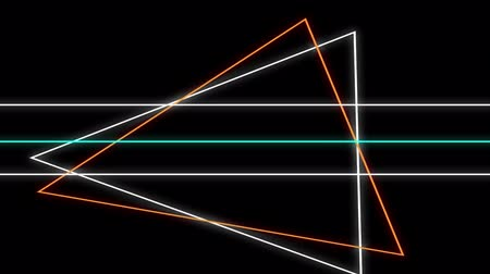 paralelo : Animation of flickering neon outlines of geometric shapes, triangles and parallel lines in white, orange and green moving on black background