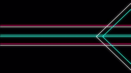 párhuzamos : Cool 80s style retro design Animation of flickering neon outlines of geometric shapes and parallel lines in white, pink and green moving on black background Stock mozgókép