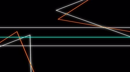 paralelo : Cool 80s style retro design Animation of flickering neon outlines of geometric shapes and parallel lines in white, orange and green moving on black background