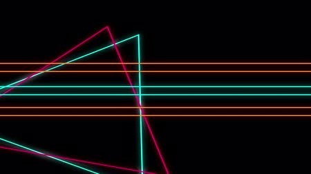 paralelo : Cool 80s style retro design Animation of flickering neon outlines of geometric shapes, triangles and parallel lines in orange, pink and green moving on black background