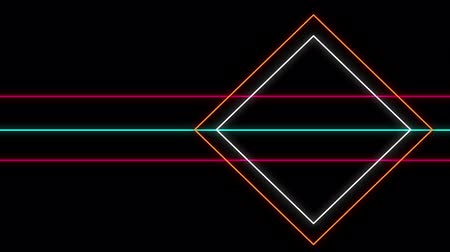 paralelo : Cool 80s style retro design Animation of flickering neon outlines of diamond geometric shapes and parallel lines in orange, white, pink and green moving on black background