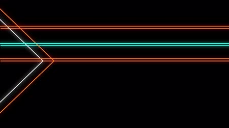 paralelo : Animation of flickering neon outlines of geometric shapes, triangles and parallel lines in orange, white and green moving on black background Vídeos