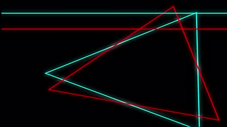 paralelo : Cool 80s style retro design Animation of flickering neon outlines of geometric shapes, triangles and parallel lines in red and green moving on black background Vídeos