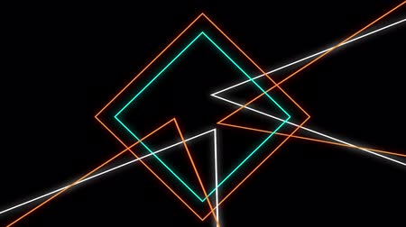 kosočtverec : Animation of flickering neon outlines of geometric shapes, triangles and lines in orange, white and green moving on black background Dostupné videozáznamy