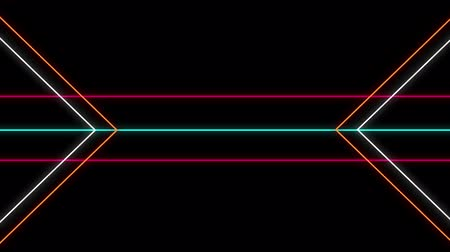 paralelo : Cool 80s style retro design Animation of flickering neon outlines of geometrical shapes and parallel lines in white, orange, pink and green moving on black background Vídeos