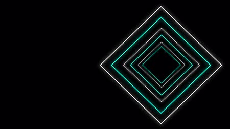 kosočtverec : Cool 80s style retro design Animation of flickering neon outlines of diamond geometric shapes in white and green moving on black background