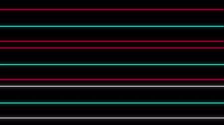 párhuzamos : Cool 80s style retro design Animation of flickering neon parallel lines in pink, white and green moving on black background