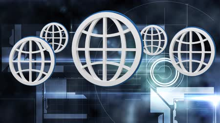 hét : Global Business Technology Finance Concept Animation of five white globes in outline bouncing in the foreground with numbers two two seven on dark background Stock mozgókép