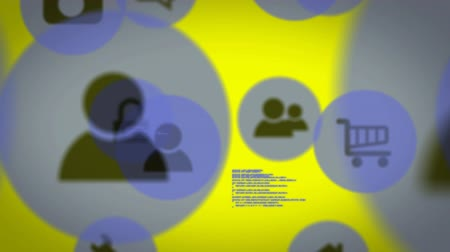 troli : Global Business Technology Finance Concept Animation of blue and black people, volume, shopping trolley and camera computer icons with data processing on yellow background Stock mozgókép