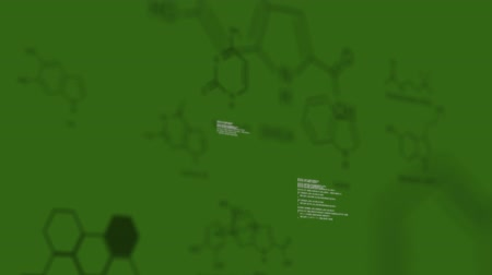 strukturální : Global Business Technology Finance Concept Animation of data processing with dark green structural formula of chemical compounds moving on dark green background
