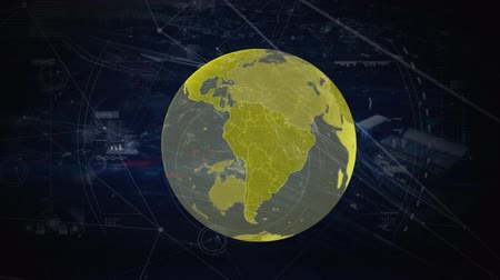 spojovací : Global Business Technology Finance Concept Animation of data processing and globe with moving network of connection on dark blue background