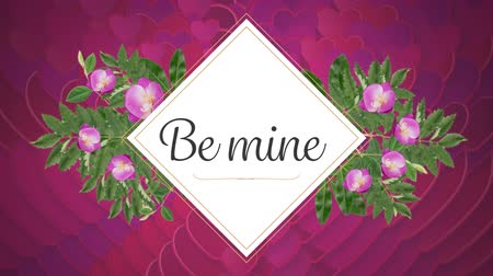 ser : Animation of the words Be Mine written in black letters on white diamond shape sign, with pink flowers and pink hearts appearing on pink background. Celebrating Valentines Day.