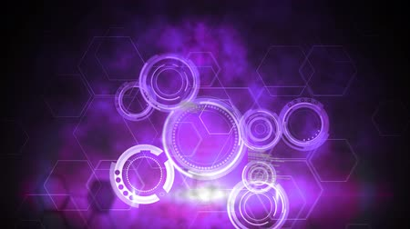 zeshoek : Animation of data processing in white with purple circles and hexagons and clouds of smoke in the background. Global networking.