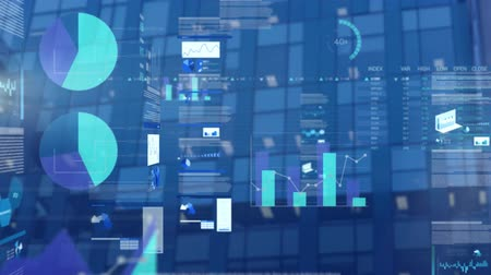 dünya çapında : Animation of business data processing with financial growth charts and statistics moving with office building on a blue background. Global finance business growth concept. Stok Video