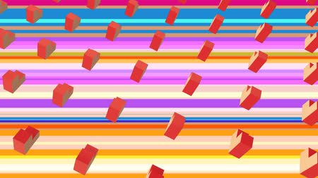patroon : Animation of multiple rows of 3d orange and pink geometric elements spinning and rotating simultaneously on striped pink, blue and purple background. Elements moving in formation. 3d digital design composite video animation.