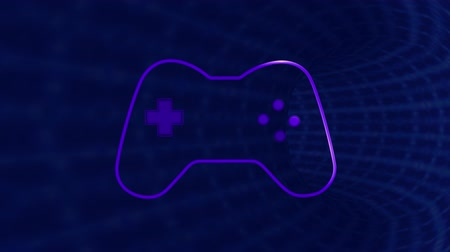 konsola : Animation of a purple outline of a video game controller with play buttons pulsating and throbbing on blue tunnel background. Digital technology and entertainment concept.