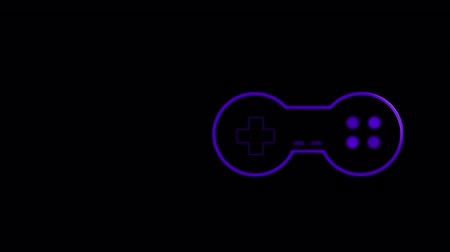 off : Animation of a purple outline of a moving video game controller with play buttons pulsating and throbbing on black background. Digital technology and entertainment concept.
