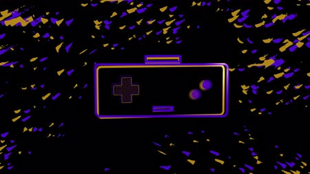 konsola : Animation of a purple and orange outline of a moving video game controller with play buttons pulsating and throbbing, orange and purple moving particles on black background. Digital technology and entertainment concept.