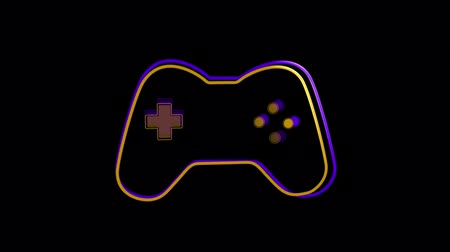 sobressalente : Animation of a purple and orange outline of a moving video game controller with play buttons pulsating and throbbing on black background. Digital technology and entertainment concept.