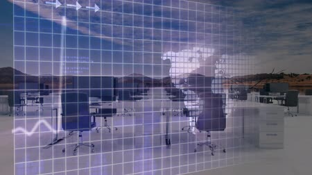 不在 : Animation of data processing with world map, arrows and line scanning on blue grid with out of focus modern office in the background. Global business and finance concept. 動画素材
