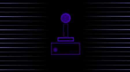 сияющий : Animation of a purple outline of a video game controller buffer with play buttons pulsating and throbbing with purple stripes on black background. Digital technology and entertainment concept.