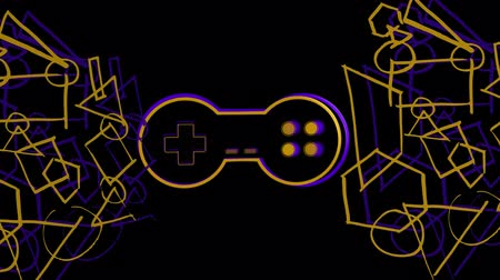 controlador : Animation of a purple and orange outline of a moving video game controller with play buttons pulsating and throbbing and purple and orange abstract geometric shape outlines on black background. Digital technology and entertainment concept. Stock Footage