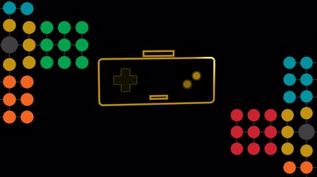 nineties : Animation of an orange outline of a video game controller with play buttons pulsating and throbbing with multi coloured spots on black background. Digital technology and entertainment concept.