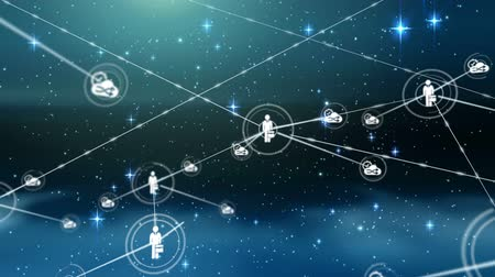 social change : Animation of network of connections and icons moving over starts and clouds on night sky in the background. Digital network of global connections networking business concept.