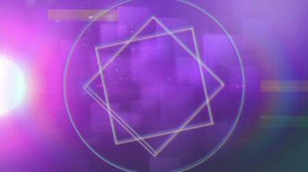 hale : Animation of outlines of geometric shapes moving with rainbow coloured halo on moving pink spotlight and purple squares in the background. Seamless loop of digital motion.