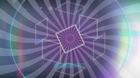 hale : Animation of outlines of geometric shapes moving with rainbow coloured halo on flickering spots of light with turning grey and black radiating stripes in the background. Seamless loop of digital motion.