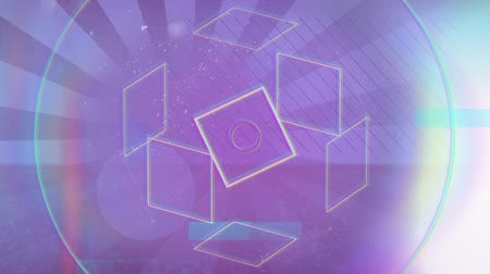 hale : Animation of outlines of geometric shapes moving with rainbow coloured halo on flickering spots of light and spinning radiating stripes on a purple background. Seamless loop of digital motion.