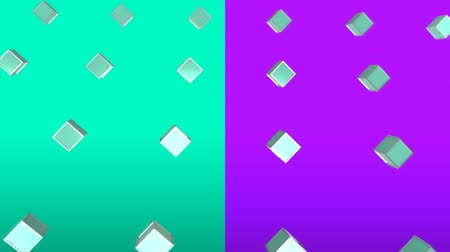 angular : Cool angular geometry design pattern style Animation of 3d metallic green cubes moving in formation on purple and green background
