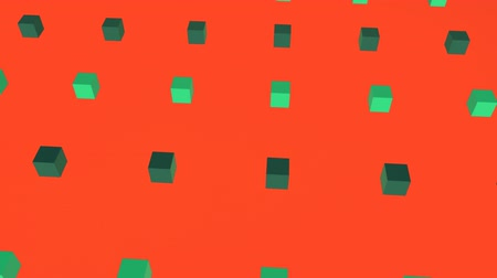 угловой : Cool angular geometry design pattern style Animation of 3d light and dark green cubes moving in formation on orange background
