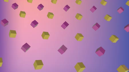 угловой : Cool angular geometry design pattern style Animation of 3d green and purple cubes moving in formation on gradient pink to purple background