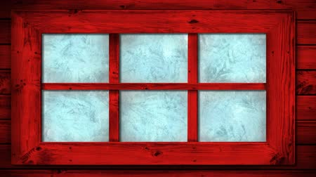 pane : Animation of frost setting on window panes from top corner, transitioning and disappearing in cold winter on black background. Cold weather climate change domestic heating concept.
