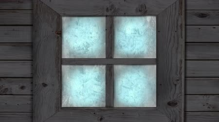 febrero : Animation of frost setting on glass from left and right, transitioning and disappearing in cold winter on black background. Cold weather climate change domestic heating concept.
