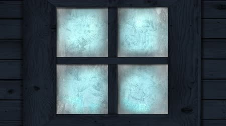 pane : Animation of frost setting on glass from top and bottom, transitioning and disappearing in cold winter on black background. Cold weather climate change domestic heating concept.
